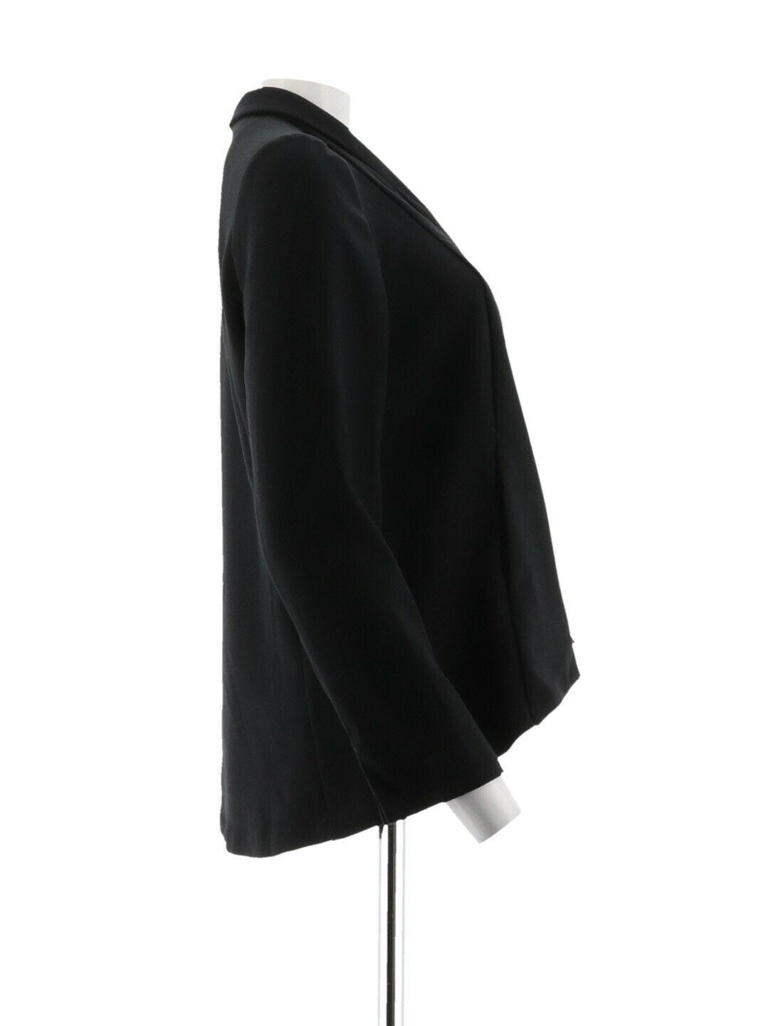 H Halston Long Slv Open Front Jacket Seam Black 12 NEW A303200 image 4