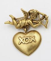 Vintage Danecraft Cupid XOXO Dangle Heart Pendant Brooch Pin - $9.89