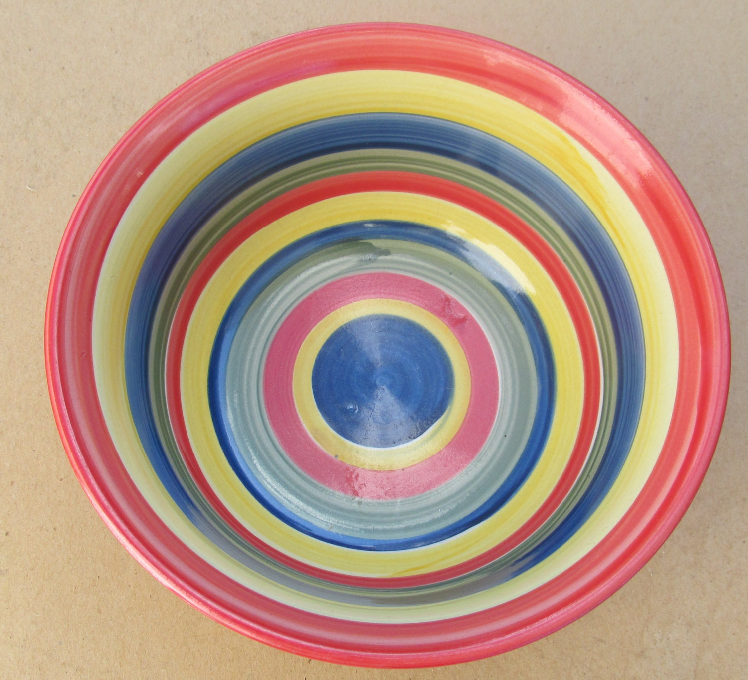 Hand Painted Swirl Design Mult-colored Serving Bowl Stonemite by SWIRL