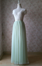 LIGHT GREEN Full Length Maxi Tulle Skirt Green Wedding Bridesmaid Tulle Skirts image 2