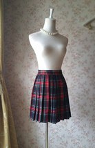 RED PLAID SKIRT Women Girl Pleated Plaid Skirt School Style Plaid Skirts NWT image 2