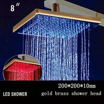 Cascada 8 Inch Square Multi Color LED Rain Shower Head, Gold Finish - $178.15