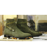 Handmade Men Green Suede High Ankle Monk Strap Boots - $149.99+