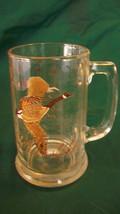 VINTAGE FLYING GEESE GLASS BEER MUG, CLEAR WITH BROWN TONE GEESE - $18.55