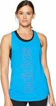 Adidas Womens Casual Tank Top Linear Logo Activewear Tops Sleeveless Blu... - $15.99