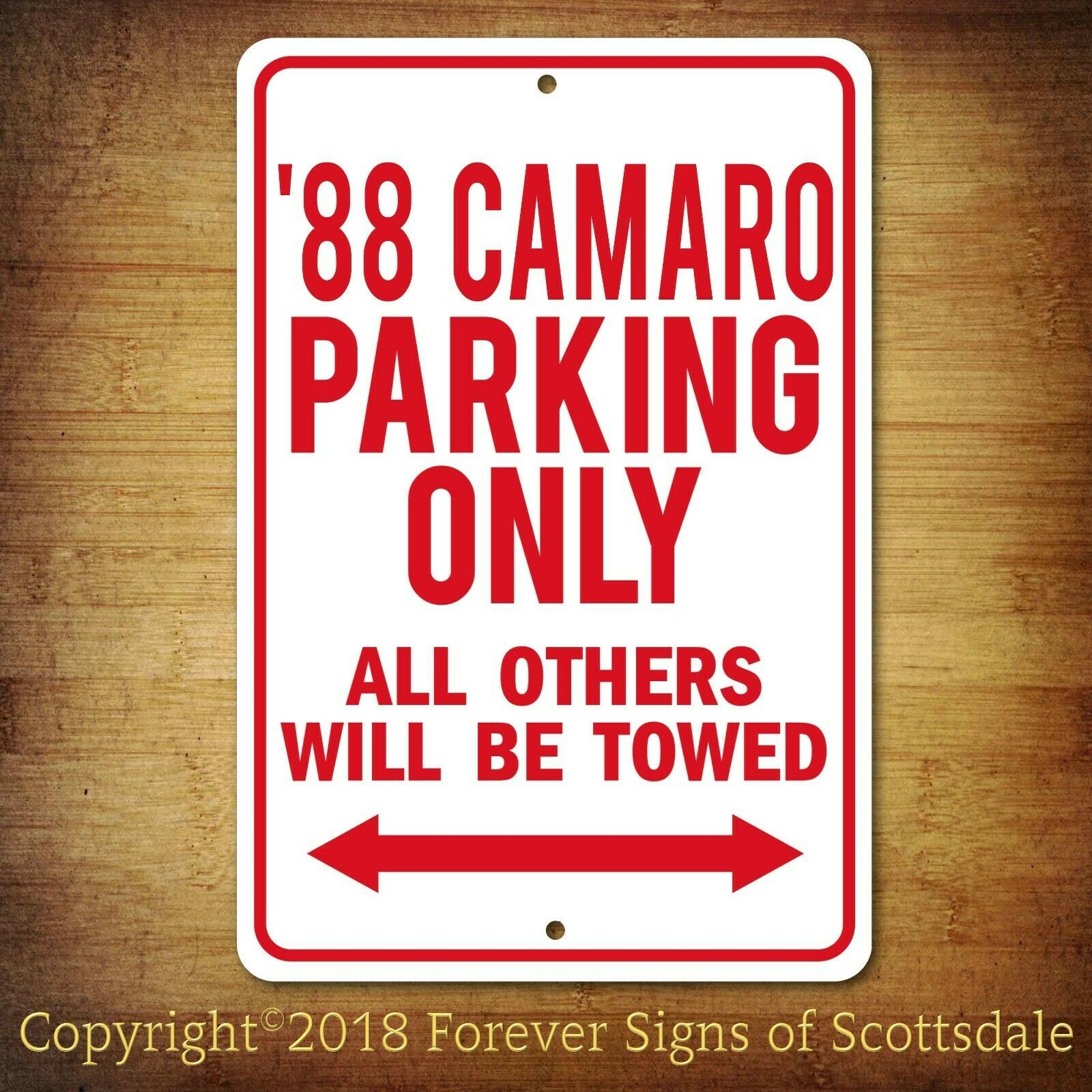 Primary image for 1988 Chevrolet Camaro Parking Only Security Aluminum Sign