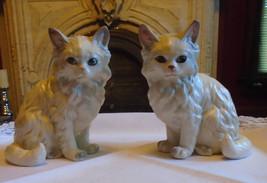 Lefton Ceramic white long haired persian cat figurine pair - $18.00