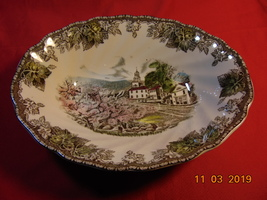 """9"""", Oval Vegetable Bowl, from Johnson Bros., in the Friendly Village Pattern. - $24.99"""