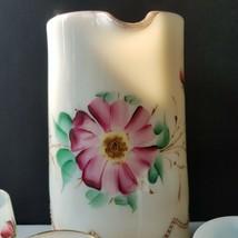 Heisey 1295 Bead Swag Ivory Custard Floral Pitcher 3 Tumblers Sugar Base... - $69.95