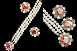 80s does 50s Faux Pearl Aurora Borealis Sparkling Three Strand Pearl Bra... - $25.00