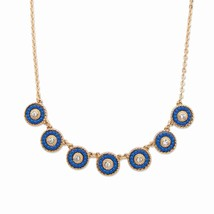 "Crystal and Blue Beaded 14k Gold-Plated Halo Collar Rolo-Link Necklace 16""-19"" - $11.91"