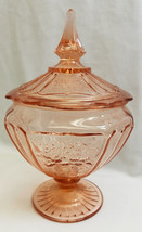 Mayfair Open Rose Pink Depression Glass Candy Jar w Lid Anchor Hocking - $16.83