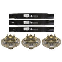 3 Blades & Spindles for John Deere 1550 1570 1575 1580 1585 997 3120 332... - $299.88