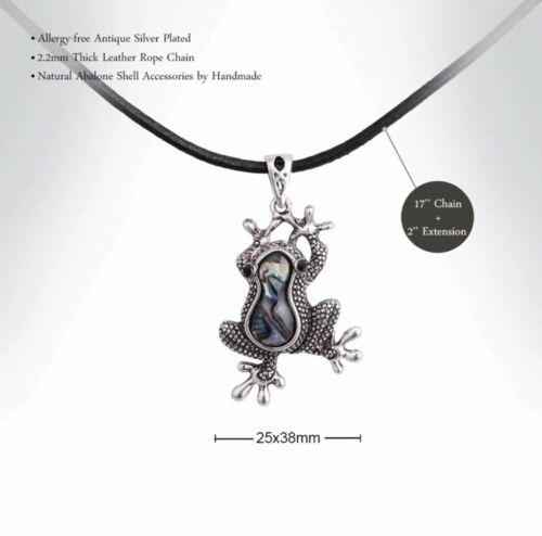 MARTE&JOVEN Silver Tone Abalone Vintage Frog Necklace Pendant [PEN-33] image 2