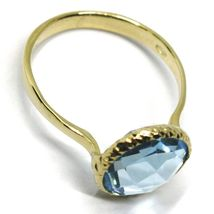 SOLID 18K YELLOW GOLD RING, CUSHION ROUND BLUE TOPAZ, DIAMETER 10mm image 3