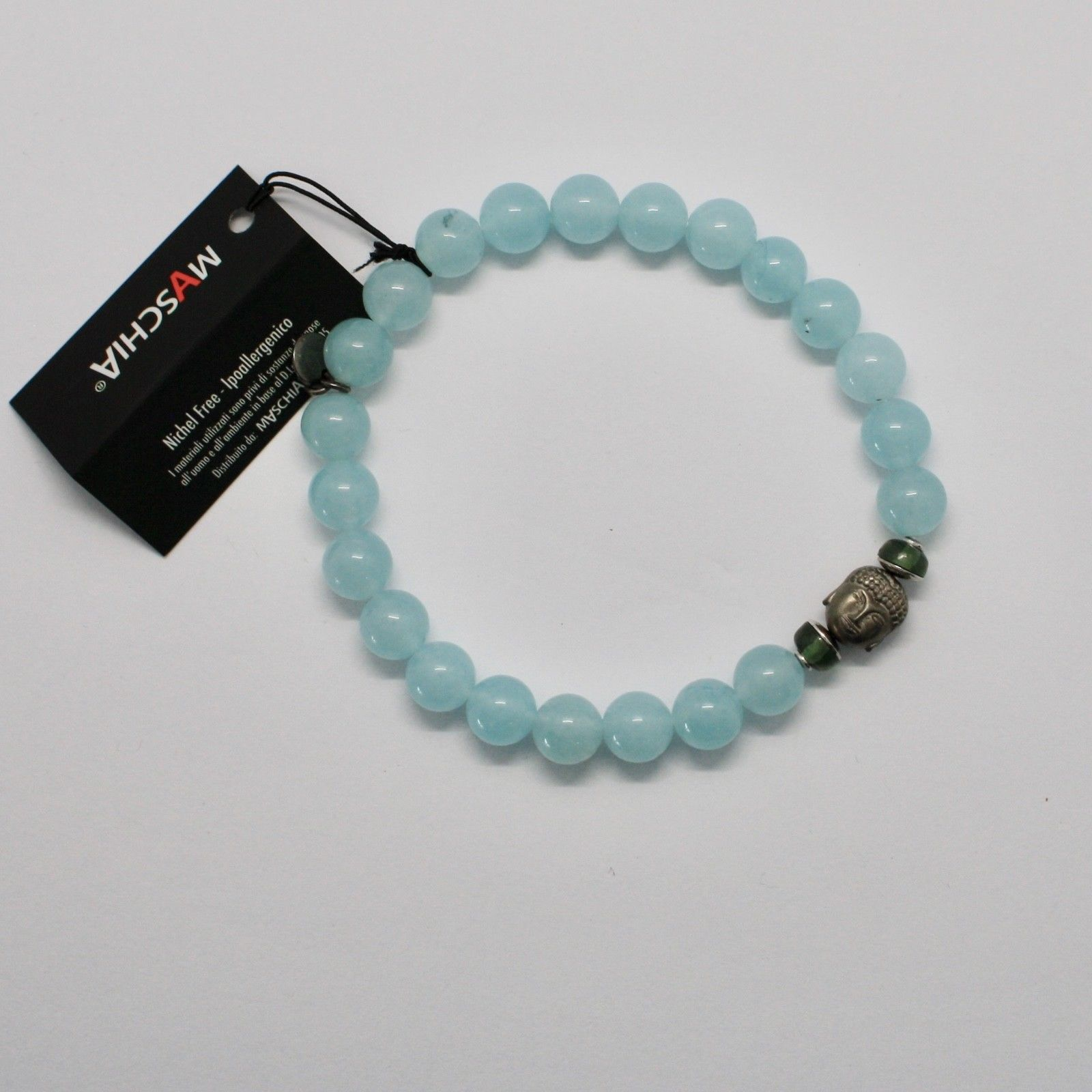 Silver 925 Bracelet with Hematite Jade Blue BPR-5 Made in Italy by Maschia