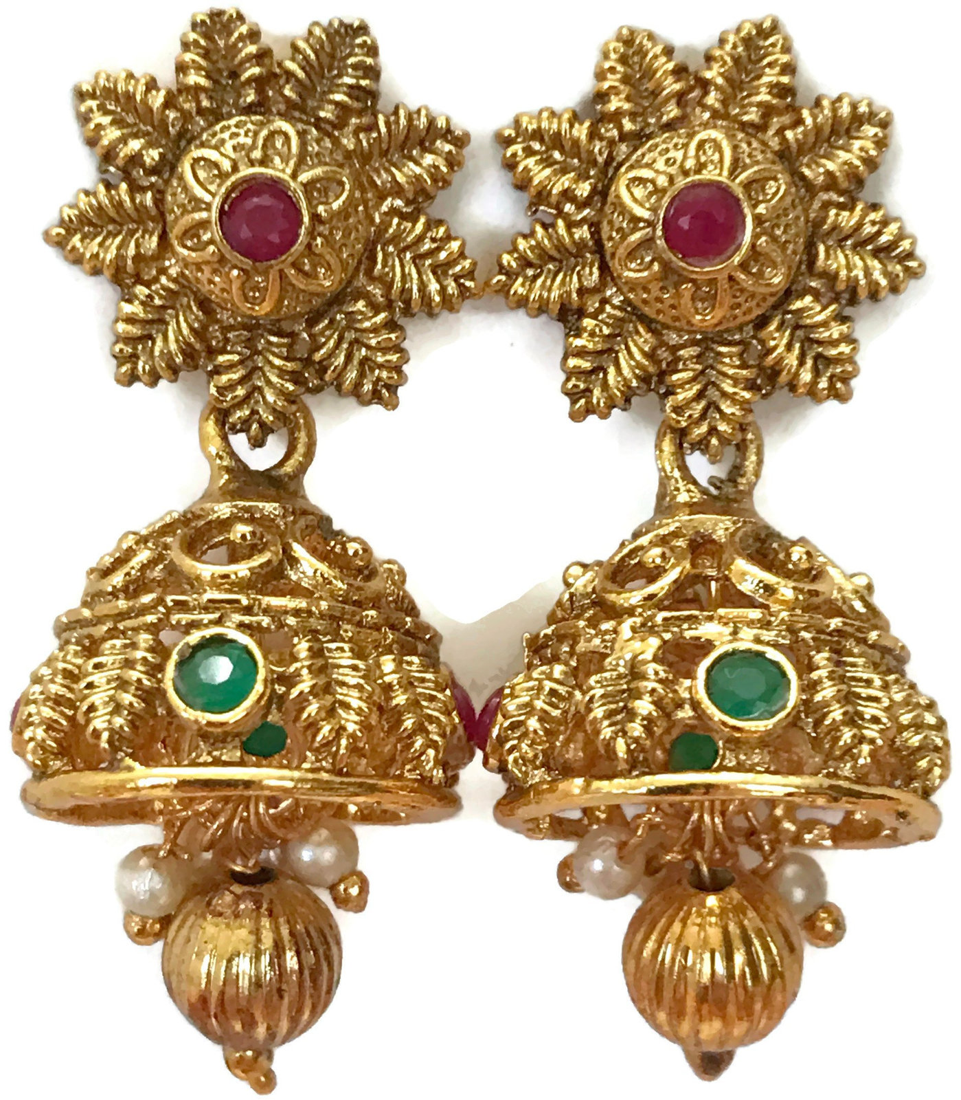 Ea e263 Bollywood Fashion Polki Golden Jhumka Earring Set. Indian Jewelry