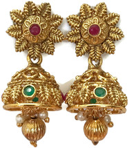 Ea e263 Bollywood Fashion Polki Golden Jhumka Earring Set. Indian Jewelry - $12.49