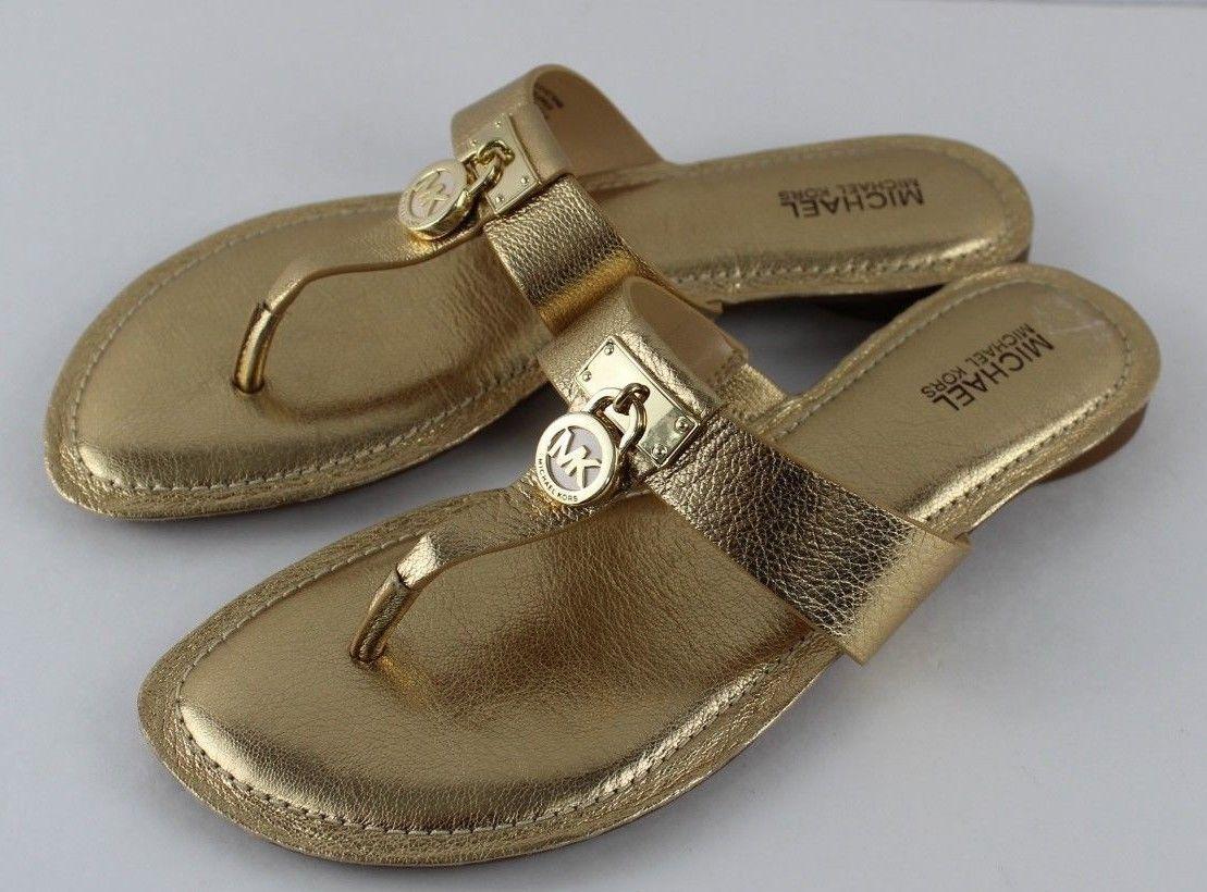 88e7c49788bb S l1600. S l1600. Previous. Michael Kors Hamilton flat sandals metallic  leather upper gold size ...