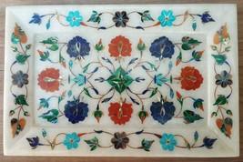 """Serving tray marble stone 9"""" x 6"""" pietra dura gemstone inlay work Platte... - $116.88"""