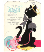 Vintage Birthday Card Flocked Black Cat Hallmark Die Cut Daughter - $8.90
