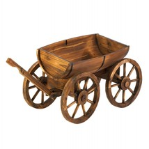 Old Country Wood Barrel Wagon Planter - $232.74 CAD