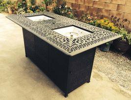 Fire pit propane bar table set 7 piece outdoor cast aluminum Palm Tree bar stool image 4