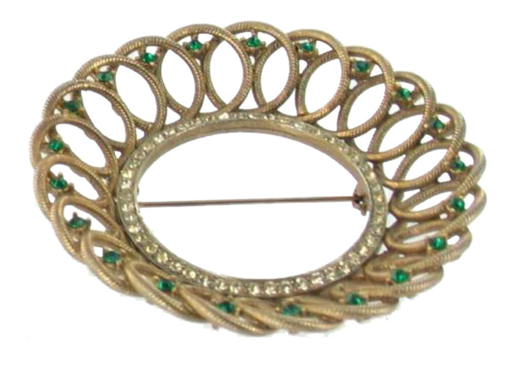 Primary image for VINTAGE 1940'S GREEN & CLEAR RHINESTONE CIRCLE WREATH GEOMETRIC SHAPED PIN 3""