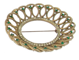 VINTAGE 1940'S GREEN & CLEAR RHINESTONE CIRCLE WREATH GEOMETRIC SHAPED P... - $53.99