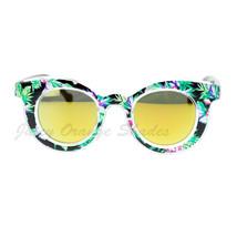 Flower Floral Print Womens Sunglasses Round Horn Rim Mirror Lens - $7.15