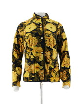 Isaac Mizrahi Floral Printed Button Front Fleece Jacket Yellow XXS NEW A... - $41.56