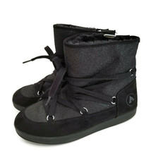 Airwalk Pixie Ankle Boots GIrls 6 Black Fabric/Suede PullOn Lace Adj Fur... - $20.00