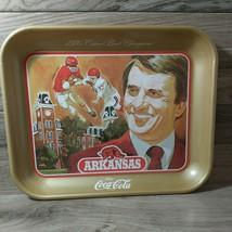 Coca Cola 1976 Arkansas Razorback Cotton Bowl Champions Metal Tray Vintage - $24.75