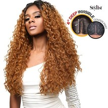 The Stylist Synthetic Lace Front Wig Deep Lace Center Part Curl Crush OT... - $27.96