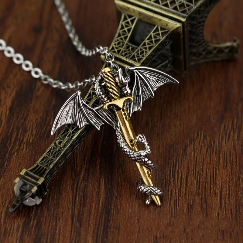 HANCHANG Vintage, Gothic Sword & Dragon Theme Unisex Necklace / Pendant
