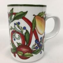 Dansk Holiday Harvest Mug Fruit Ribbons Christmas Cup International Designs - $8.52