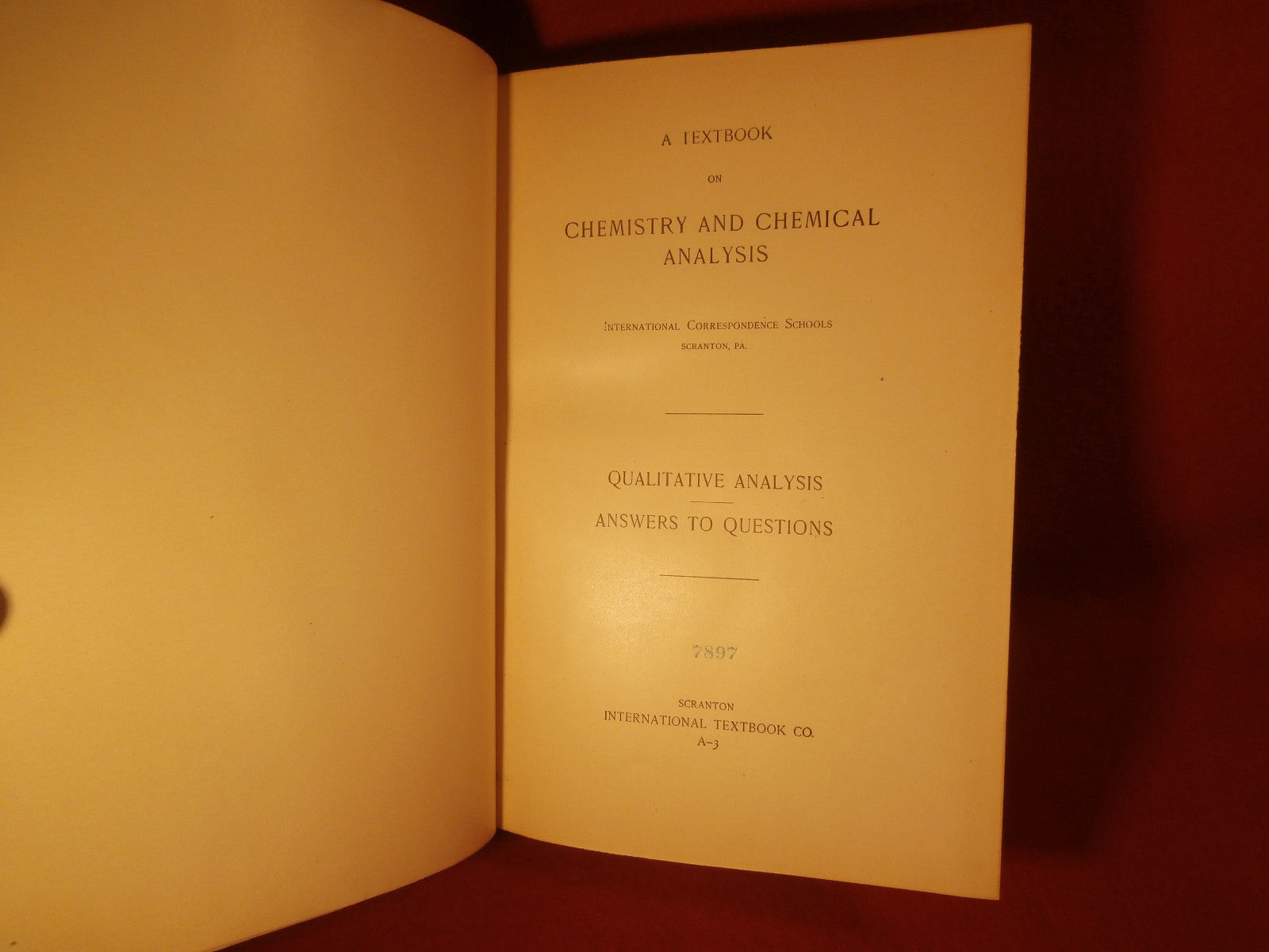 A Textbook of Chemistry and Chemical Analysis 1899 Leather Bound Book