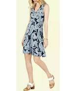 Tommy Hilfiger Womens Blue Faux Wrap Printed Paisley Mini Dress Size M - £22.29 GBP