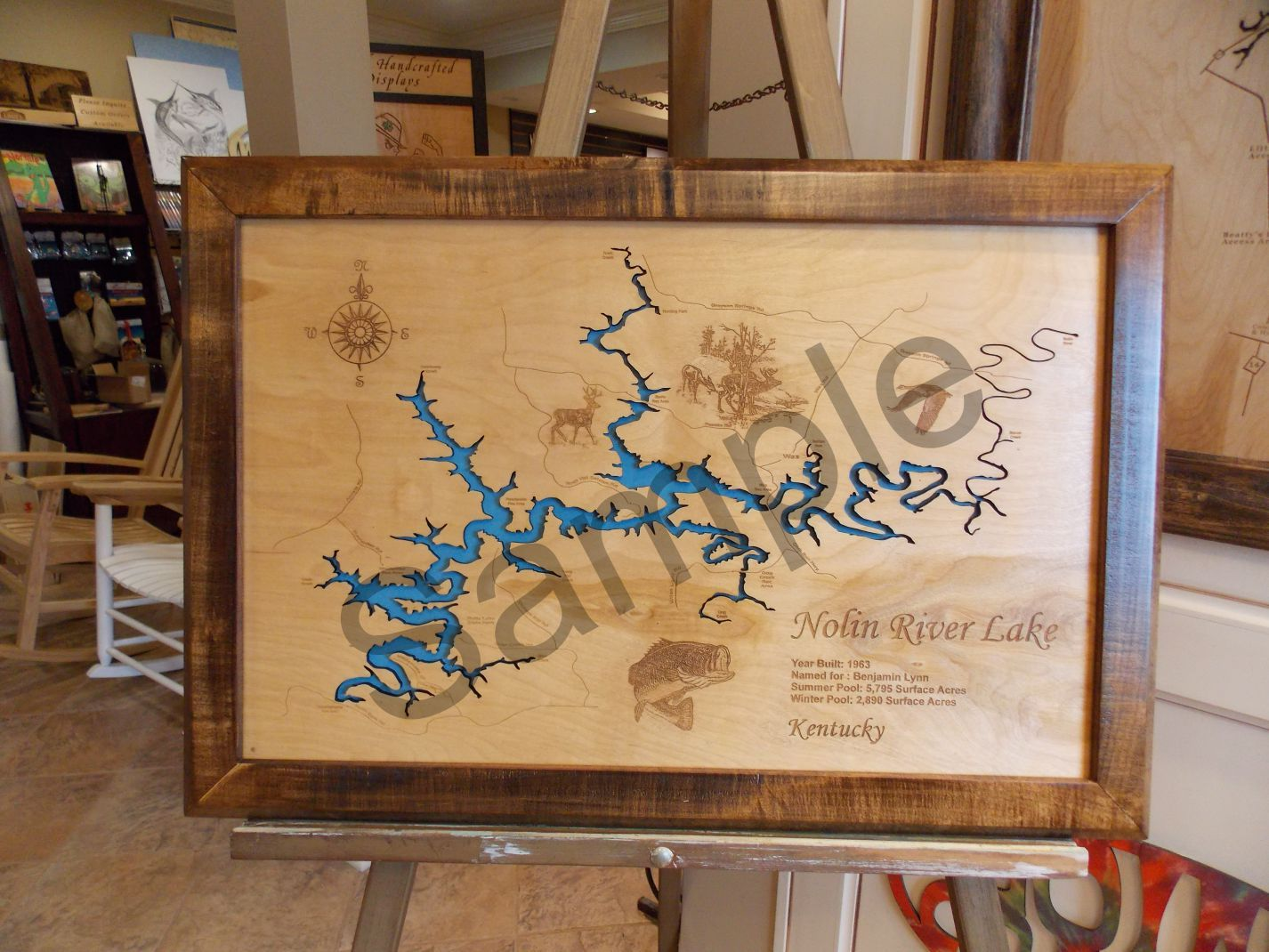 Lake Champlain in Vermont, NY and Quebec - Wood Laser Cut Map - Wall Hanging