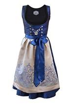Bavarian Women's Midi Dirndl Dress 3-Pieces+ Apron RoyalBlue Gold 42US12 - $177.63