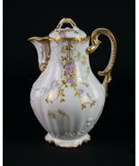 Redon Limoges Chocolate Pot, Antique c1891 Dianthus Flowers Heavy Gold F... - $245.00