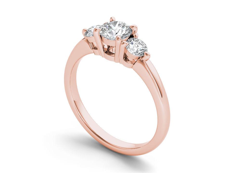 IGI Certified Solid 14K Rose Gold 0.75 Ct Diamond Three Stone Engagement Ring
