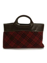 Burberry London Handbag Red Color Check Pattern Wool Material Used - $130.99