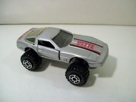 Vintage 1984 Road Champs Corvette 4 X 4 Die Cast Car 1/64 Scale Silver - $15.63