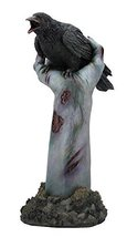 "11"" Crow on Zombie Hand Statue Figurine Collectible Gothic Decor Fantasy Figure - $45.00"