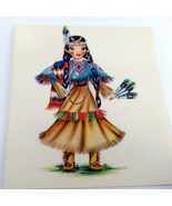 Dolls of Many Lands Card Indian Vintage Blank Note Card for Collage, Eph... - $2.50