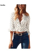 New Summer Women Polka Dot shirts Short Style Casual Ruffles Half Flare ... - $32.80