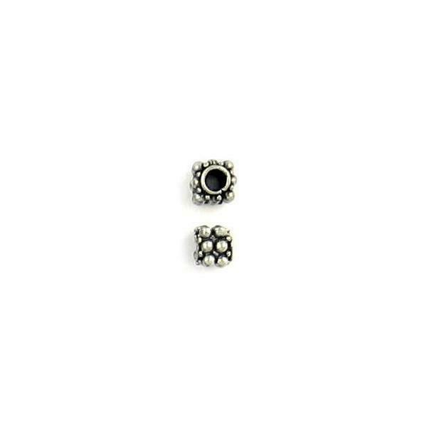 BEADED SQUARE FINE PEWTER BEAD - 5mm W x 5mm H x 5mm D Hole: 2.5mm