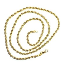 Mens Rope Link Real Solid 10K Yellow Gold 2.3 gram 2.1 mm Necklace 24 in - £90.75 GBP