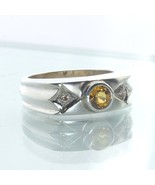 Gents Ring Yellow White Sapphire Round Handcrafted 925 Silver Unisex siz... - $96.90